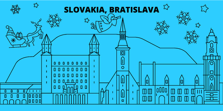 Slovakia, Bratislava winter holidays skyline. Merry Christmas, Happy New Year decorated banner with Santa Claus.Flat, outline vector.Slovakia, Bratislava linear christmas city illustration Ilustração