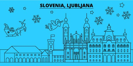 Slovenia, Ljubljana winter holidays skyline. Merry Christmas, Happy New Year decorated banner with Santa Claus.Flat, outline vector.Slovenia, Ljubljana linear christmas city illustration