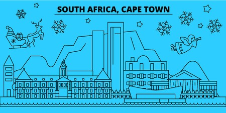 South Africa, Cape Town winter holidays skyline. Merry Christmas, Happy New Year decorated banner with Santa Claus.Flat, outline vector.South Africa, Cape Town linear christmas city illustration