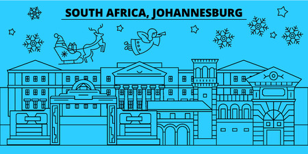 South Africa, Johannesburg winter holidays skyline. Merry Christmas, Happy New Year decorated banner with Santa Claus.South Africa, Johannesburg linear christmas city vector flat illustration Illustration