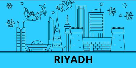 Saudi Arabia, Riyadh winter holidays skyline. Merry Christmas, Happy New Year decorated banner with Santa Claus.Flat, outline vector.Saudi Arabia, Riyadh linear christmas city illustration
