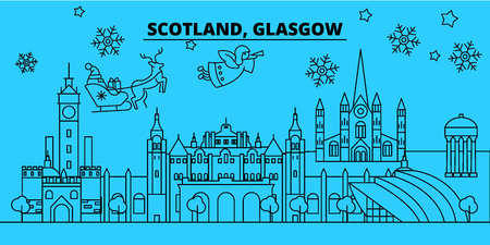 Scotland, Glasgow winter holidays skyline. Merry Christmas, Happy New Year decorated banner with Santa Claus.Flat, outline vector.Scotland, Glasgow linear christmas city illustration Illustration