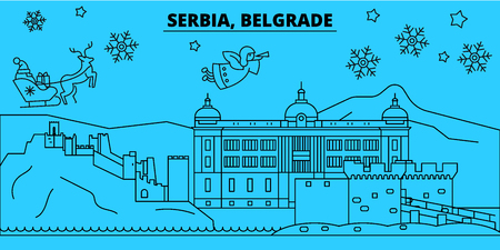 Serbia, Belgrade winter holidays skyline. Merry Christmas, Happy New Year decorated banner with Santa Claus.Flat, outline vector.Serbia, Belgrade linear christmas city illustration