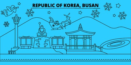 South Korea, Busan winter holidays skyline. Merry Christmas, Happy New Year decorated banner with Santa Claus.Flat, outline vector.South Korea, Busan linear christmas city illustration