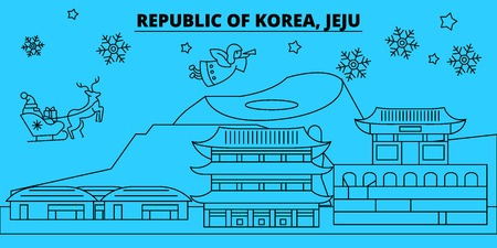 South Korea, Jeju winter holidays skyline. Merry Christmas, Happy New Year decorated banner with Santa Claus.Flat, outline vector.South Korea, Jeju linear christmas city illustration