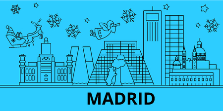 Spain, Madrid winter holidays skyline. Merry Christmas, Happy New Year decorated banner with Santa Claus.Flat, outline vector.Spain, Madrid linear christmas city illustration 向量圖像