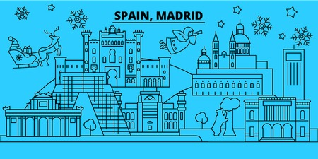 Spain, Madrid city winter holidays skyline. Merry Christmas, Happy New Year decorated banner with Santa Claus.Flat, outline vector.Spain, Madrid city linear christmas city illustration 向量圖像