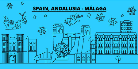 Spain, Malaga, Andalusia winter holidays skyline. Merry Christmas, Happy New Year decorated banner with Santa Claus.Flat, outline vector.Spain, Malaga, Andalusia linear christmas, city illustration Stock Illustratie