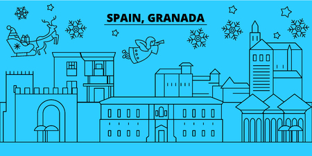Spain, Granada winter holidays skyline. Merry Christmas, Happy New Year decorated banner with Santa Claus.Flat, outline vector.Spain, Granada linear christmas city illustration