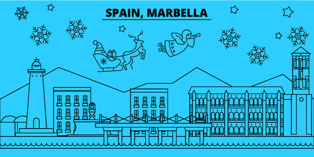 Spain, Marbella winter holidays skyline. Merry Christmas, Happy New Year decorated banner with Santa Claus.Flat, outline vector.Spain, Marbella linear christmas city illustration