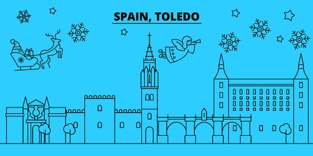 Spain, Toledo winter holidays skyline. Merry Christmas, Happy New Year decorated banner with Santa Claus.Flat, outline vector.Spain, Toledo linear christmas city illustration