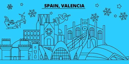 Spain, Valencia winter holidays skyline. Merry Christmas, Happy New Year decorated banner with Santa Claus.Flat, outline vector.Spain, Valencia linear christmas city illustration
