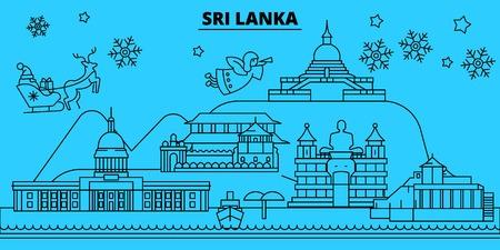 Sri Lanka winter holidays skyline. Merry Christmas, Happy New Year decorated banner with Santa Claus.Flat, outline vector.Sri Lanka linear christmas city illustration 向量圖像