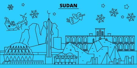 Sudan winter holidays skyline. Merry Christmas, Happy New Year decorated banner with Santa Claus.Flat, outline vector. Sudan linear christmas city illustration
