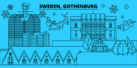 Sweden, Gothenburg winter holidays skyline. Merry Christmas, Happy New Year decorated banner with Santa Claus.Flat, outline vector.Sweden, Gothenburg linear christmas city illustration Illustration