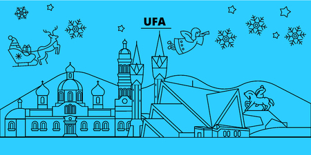 Russia, Ufa winter holidays skyline. Merry Christmas, Happy New Year decorated banner with Santa Claus.Flat, outline vector.Russia, Ufa linear christmas city illustration