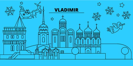 Russia, Vladimir winter holidays skyline. Merry Christmas, Happy New Year decorated banner with Santa Claus.Flat, outline vector.Russia, Vladimir linear christmas city illustration Illustration