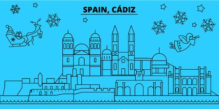 Spain, Cadiz winter holidays skyline. Merry Christmas, Happy New Year decorated banner with Santa Claus.Flat, outline vector.Spain, Cadiz linear christmas city illustration