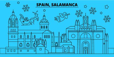 Spain, Salamanca winter holidays skyline. Merry Christmas, Happy New Year decorated banner with Santa Claus.Flat, outline vector.Spain, Salamanca linear christmas city illustration