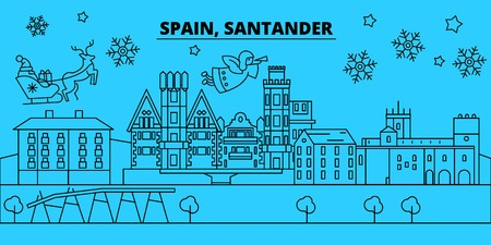 Spain, Santander winter holidays skyline. Merry Christmas, Happy New Year decorated banner with Santa Claus.Flat, outline vector.Spain, Santander linear christmas city illustration