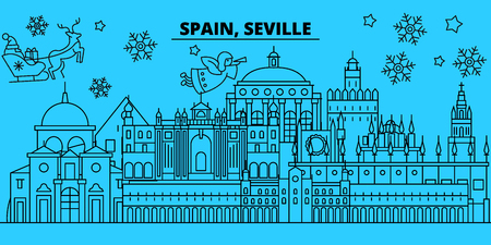 Spain, Seville winter holidays skyline. Merry Christmas, Happy New Year decorated banner with Santa Claus.Flat, outline vector.Spain, Seville linear christmas city illustration