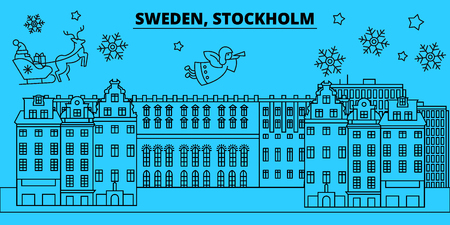 Sweden, Stockholm winter holidays skyline. Merry Christmas, Happy New Year decorated banner with Santa Claus.Flat, outline vector.Sweden, Stockholm linear christmas city illustration