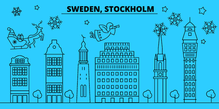 Sweden, Stockholm city winter holidays skyline. Merry Christmas, Happy New Year decorated banner with Santa Claus.Flat, outline vector.Sweden, Stockholm city linear christmas city illustration