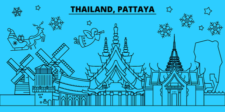 Thailand, Pattaya- winter holidays skyline. Merry Christmas, Happy New Year decorated banner with Santa Claus.Flat, outline vector.Thailand, Pattaya- linear christmas city illustration