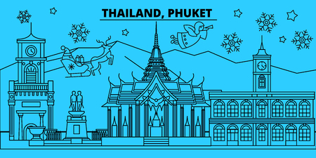 Thailand, Phuket winter holidays skyline. Merry Christmas, Happy New Year decorated banner with Santa Claus.Flat, outline vector.Thailand, Phuket linear christmas city illustration