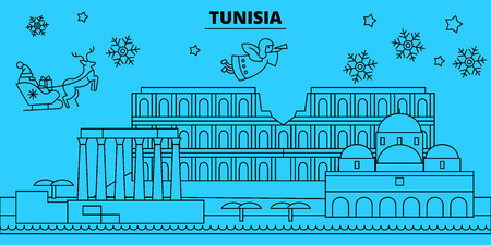 Tunisia winter holidays skyline. Merry Christmas, Happy New Year decorated banner with Santa Claus.Flat, outline vector. Tunisia linear christmas city illustration Banque d'images - 127335091