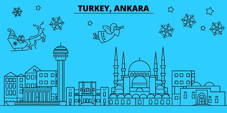 Turkey, Ankara winter holidays skyline. Merry Christmas, Happy New Year decorated banner with Santa Claus.Flat, outline vector.Turkey, Ankara linear christmas city illustration