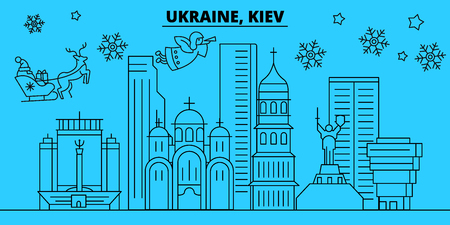 Ukraine, Kiev winter holidays skyline. Merry Christmas, Happy New Year decorated banner with Santa Claus.Flat, outline vector.Ukraine, Kiev linear christmas city illustration