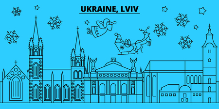 Ukraine, Lviv winter holidays skyline. Merry Christmas, Happy New Year decorated banner with Santa Claus.Flat, outline vector.Ukraine, Lviv linear christmas city illustration 向量圖像