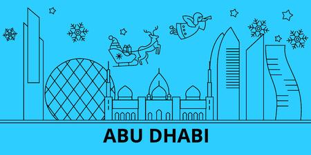 United Arab Emirates, Abu Dhabi winter holidays skyline. Merry Christmas, Happy New Year  with Santa Claus.Outline vector.United Arab Emirates, Abu Dhabi linear christmas city illustration