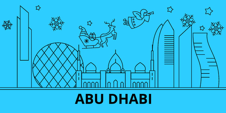 United Arab Emirates, Abu Dhabi winter holidays skyline. Merry Christmas, Happy New Year  with Santa Claus.Outline vector.United Arab Emirates, Abu Dhabi linear christmas city illustration