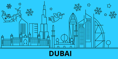 United Arab Emirates, Dubai winter holidays skyline. Merry Christmas, Happy New Year decorated banner with Santa Claus.Outline vector.United Arab Emirates, Dubai linear christmas city illustration Çizim