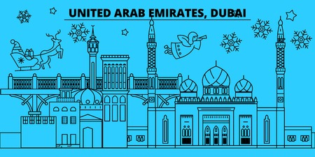 United Arab Emirates, Dubai city winter holidays skyline. Merry Christmas, Happy New Year  with Santa Claus.Outline vector.United Arab Emirates, Dubai city linear christmas city illustration