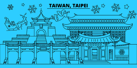 Taiwan, Taipei winter holidays skyline. Merry Christmas, Happy New Year decorated banner with Santa Claus.Flat, outline vector.Taiwan, Taipei linear christmas city illustration Illustration