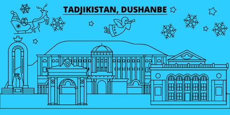 Tajikistan, Dushanbe winter holidays skyline. Merry Christmas, Happy New Year decorated banner with Santa Claus.Flat, outline vector.Tajikistan, Dushanbe linear christmas city illustration