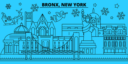 United States, Bronx winter holidays skyline. Merry Christmas, Happy New Year decorated banner with Santa Claus.Flat, outline vector.United States, Bronx linear christmas city illustration Illustration