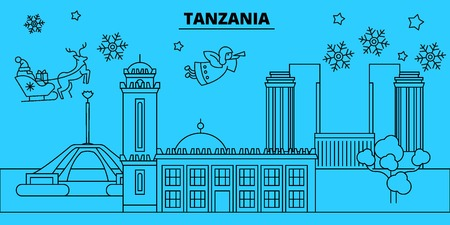 Tanzania winter holidays skyline. Merry Christmas, Happy New Year decorated banner with Santa Claus.Flat, outline vector.Tanzania linear christmas city illustration