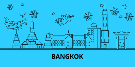 Thailand, Bangkok winter holidays skyline. Merry Christmas, Happy New Year decorated banner with Santa Claus.Flat, outline vector.Thailand, Bangkok linear christmas city illustration Illustration
