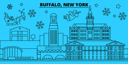 United States, Buffalo winter holidays skyline. Merry Christmas, Happy New Year decorated banner with Santa Claus.Flat, outline vector.United States, Buffalo linear christmas city illustration