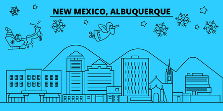 United States, Albuquerque New Mexico winter holidays skyline. Merry Christmas, Happy New Year  with Santa Claus.Outline vector.United States, Albuquerque New Mexico linear christmas city illustration Illustration