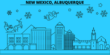 United States, Albuquerque Texas winter holidays skyline. Merry Christmas, Happy New Year  with Santa Claus.Outline vector.United States, Albuquerque Texas linear christmas city illustration