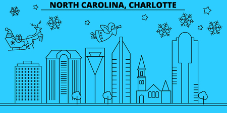 United States, Charlotte winter holidays skyline. Merry Christmas, Happy New Year decorated banner with Santa Claus.Flat, outline vector.United States, Charlotte linear christmas city illustration