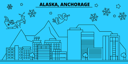 United States, Anchorage winter holidays skyline. Merry Christmas, Happy New Year decorated banner with Santa Claus.Flat, outline vector.United States, Anchorage linear christmas city illustration