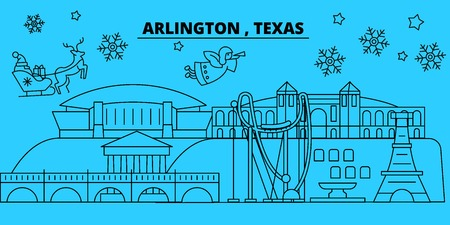United States, Arlington winter holidays skyline. Merry Christmas, Happy New Year decorated banner with Santa Claus.Flat, outline vector.United States, Arlington linear christmas city illustration