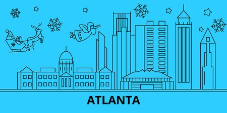 United States, Atlanta city winter holidays skyline. Merry Christmas, Happy New Year decorated banner with Santa Claus.Outline vector.United States, Atlanta city linear christmas city illustration