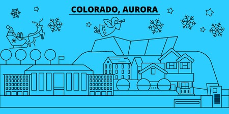 United States, Aurora winter holidays skyline. Merry Christmas, Happy New Year decorated banner with Santa Claus.Flat, outline vector.United States, Aurora linear christmas city illustration